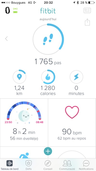 Capture d écran application Fitbit iPhone