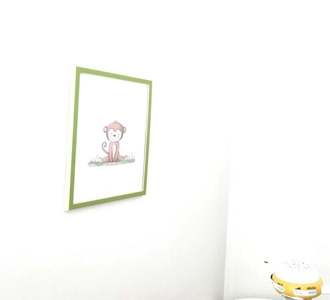 Aquarelle petit singe chambre bébé la sardina rosa