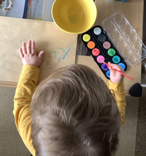 séance de peinture à l'eau
