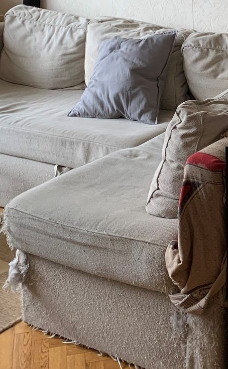 sofa before makeover