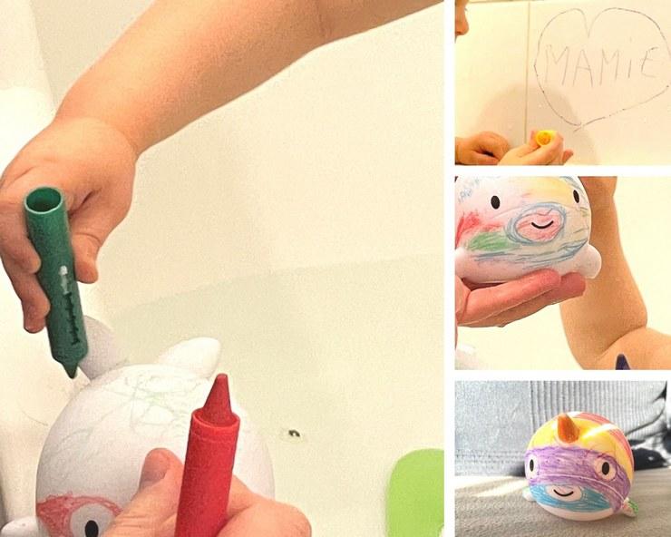 narwhy jouet de bain pour colorier avec crayons de couleur